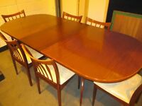 LARGE GREAVES & THOMAS REPRODUCTION MAHOGANY EXTENDING DINING TABLE AND SIX CHAIRS FREE DELIVERY