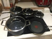 Tefal hard anodised non stick 4 pot plus frying pan set
