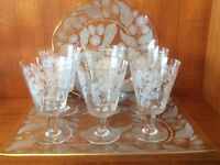Patterned glassware - 6 glasses, tray and dish