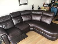 Dark brown leather corner sofa with extensible seat
