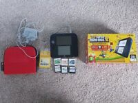 Nintendo 2DS (Blue/Black) with case, charger, box, and Super Mario Bros 2 and more (Zelda/Starfox)