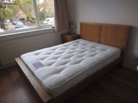 Solid wood double bed and two months old memory foam matress