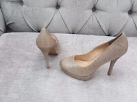 Gold Glitter Heels - New Look, Size 6