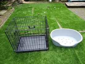 Small dog crate/cage & dog bed