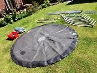8ft trampoline with safety surround, ladder and cover. (No inside matting)