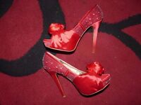 Red Satin with Diamante detail and Rose Corsage Peep Toe Shoes Heels Stiletto size 5 (38 eu)