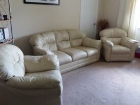 Three Seater Leather Sofa & Two Chairs