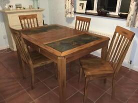 Oak & Slate solid wood table & chairs