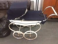 Dolls vintage 1950's Oberon Silver Cross Pram with bag