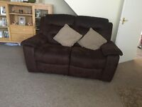 DFS brown mole skin two and three seater