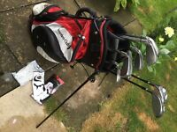 Calloway X-14 irons with Wilson carbon/glass shaft woods, bag and new Calloway men's glove in packet
