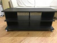 Black wooden (veneer) TV stand with multiple compartments. Great condition!