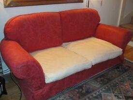 3 SEATER SOFA ( snake springs-metal & Micro Fibre stuffed cushions) M & S.