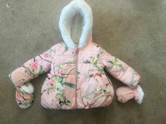 fa43b09cf44f9 Ted Baker Toddler Girls Coat With Detachable Mittens. 18-24 Months 1.5-2  Years! Like New!!