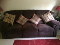 3-Seater powered recliner Sofa. Aubergine. 93inch long x 38inch depth x 38inch height.