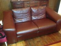 Large 2 and 3 brown leather settees buyer must collect £250