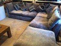 large grey corner sofa.