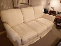 ##SOLD## 3 Seater Sofa + 2 Armchairs In Cream/White + Extra covers (Red)