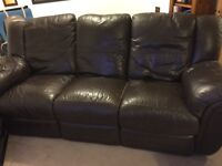"""Brown leather reclining 3 seater sofa free but """"buyer"""" would need to collect"""