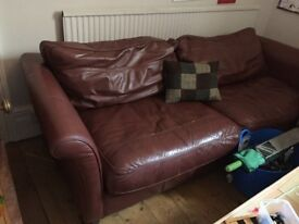 Chocolate brown leather sofa. Large 2seater. Excellent condition. Open to offers.