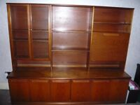 1970s Solid Wood Sideboard cum Wall Unit with Display Cabinet