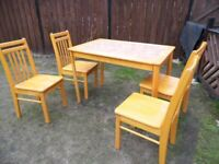 Table and four chairs size is 116x76cm