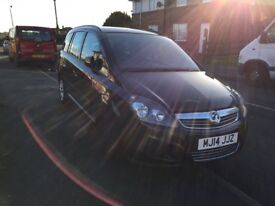 Black 2014 Vauxhall zafira, low mileage, long mot great car