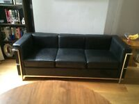 Corbusier Style chrome and black leather 3 seat sofa with some wear