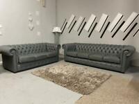 Beautiful brand new Saxon grey chesterfield sofa