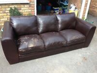 Brown 3 Seater Leather Sofa - FREE!