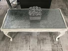 Glitter/ glass topped shabby chic white coffee table