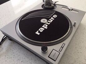 Technics SL-1200 MK2 Turntable With Custom Silver Carbon Cover & Matching 45