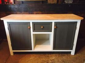 Farmhouse Painted Grey Sideboard Kitchen Island Scrubbed Top