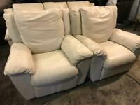 As new condition Italian leather 3 11 sofa set
