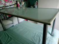 "Ikea glass and silver metal table 5'x 30"" width"