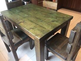 Kitchen table 4 chairs heavy solid wood - Restoration req 32.6 x 47.2 inches LE4