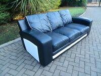 Natuzzi Italian Leather Black & White Sofa