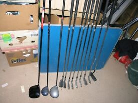 12 Golf Clubs inc large Drivers. Putter And Irons Protrac