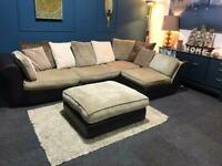 Brown and mink fabric corner l-shaped chaise sofa and large footstool