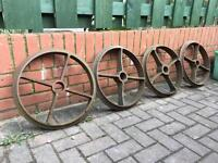 Old cast iron wheels Shepherd hut