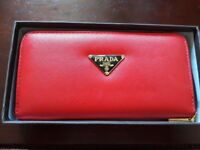 red designer style wallet