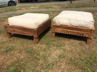 Carved Square Wooden Seats with Cushions