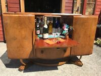 Beautility Walnut Sideboard Cocktail Bar Drinks Cabinet Teak Retro Vintage - Delivery Available