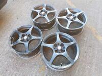"4x100 15"" Toyota Mr2 genuine staggered alloy wheels (clio, corsa, mx5, e30 drift wheels)"