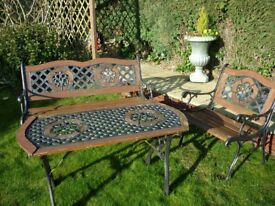 Cast Iron Garden Bench, table and chair set