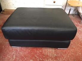 Large Black Leather Footstool