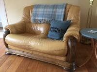 Leather Oak Framed 2 Seater Sofa
