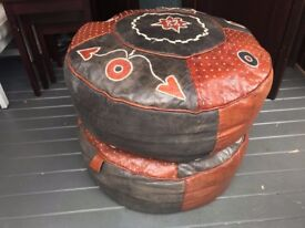 3 Leather African Beanbags (2 round & 1 rectangle)