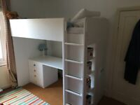Ikea loft bed with desk, wardrobe and drawers