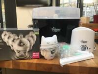 Tommee Tippee steriliser, bottle warmer (good used condition), new tommee tippee bottles and groegg